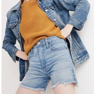 Madewell Blue Perfect Jean Shorts Step Hem Edition